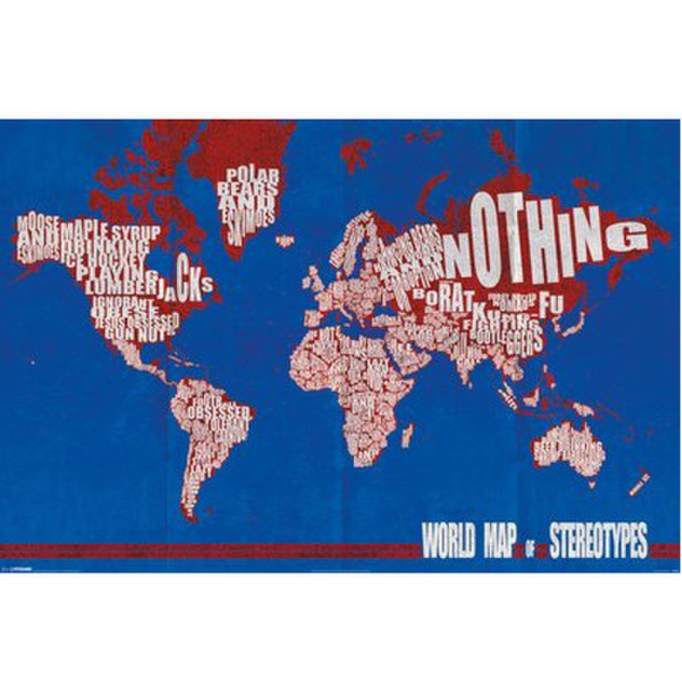 World map stereotypes 24 x 36 inches maxi poster merchandise zavvi world map stereotypes 24 x 36 inches maxi poster gumiabroncs Gallery