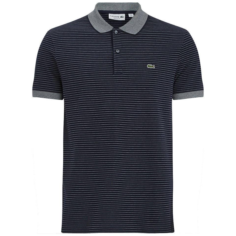 67f34661db57 ... Lacoste Men s Short Sleeve Ribbed Collar Polo Shirt - Navy Blue  Stripe Flour