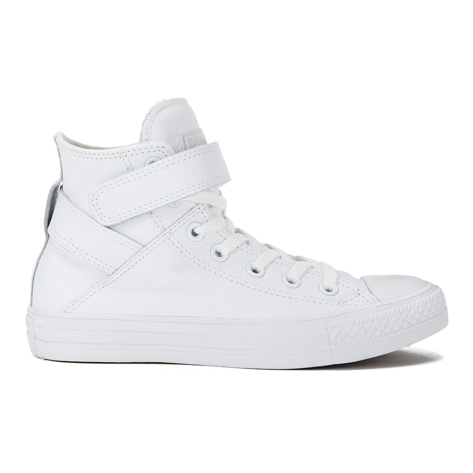 a129a1973be4d8 ... Converse Women s Chuck Taylor All Star Brea Leather Hi-Top Trainers -  White