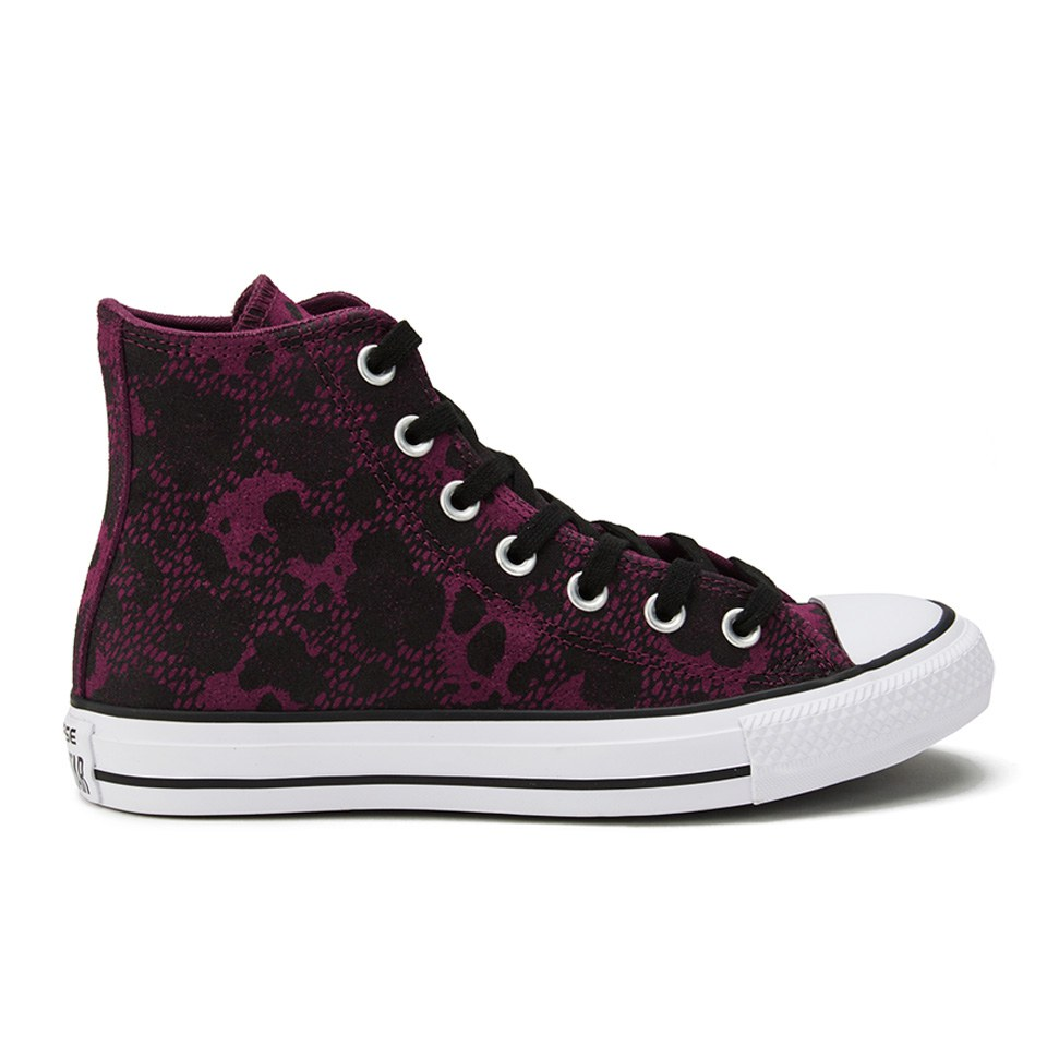 5f2ba9f34c0e Converse Women s Chuck Taylor All Star Animal Material Hi-Top Trainers -  Deep Bordeaux Black White Womens Footwear