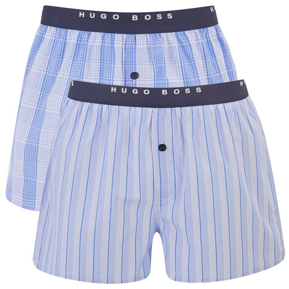 eb3464e75165 BOSS Hugo Boss Men's 2 Pack Cotton Boxer Shorts - Blue - Free UK Delivery  over £50