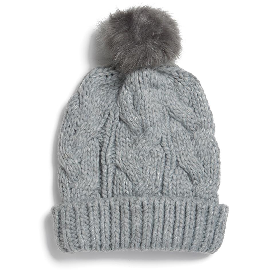 2b5f6eb5e ONLY Women's Faux Fur Pom Pom Bobble Hat - Light Grey
