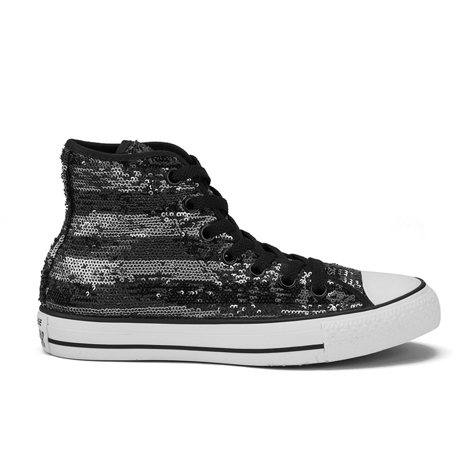 8170de7ade81 ... Converse Women s Chuck Taylor All Star Sequin Flag Hi-Top Trainers -  Black Silver