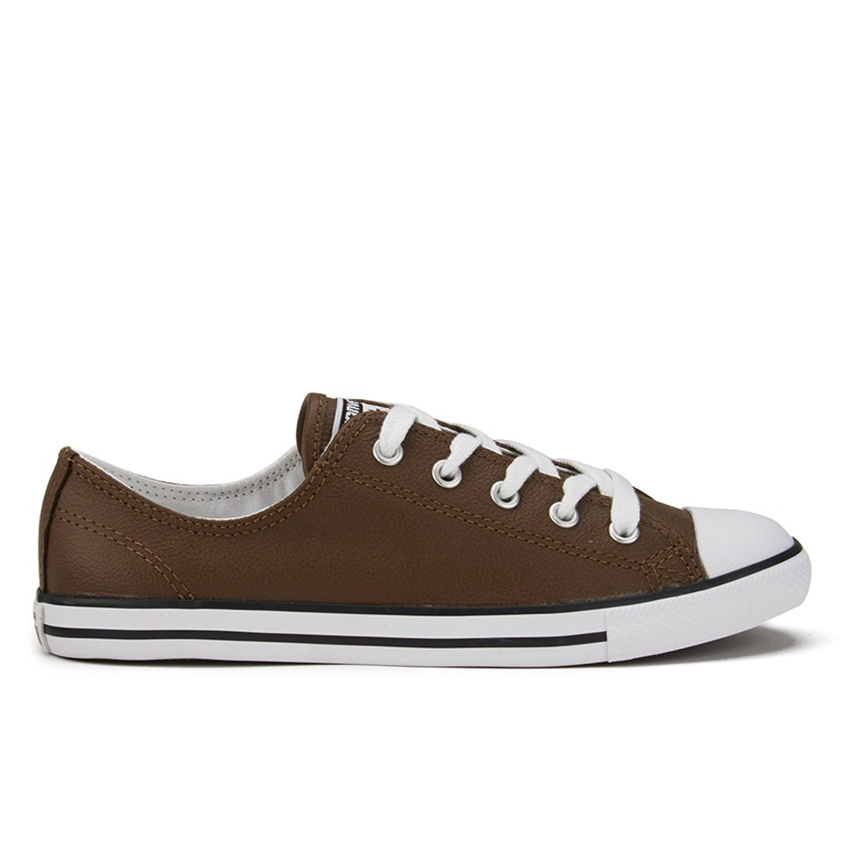 08913b8a10fe ... Converse Women s Chuck Taylor All Star Dainty Seasonal Leather Ox  Trainers - Chocolate White