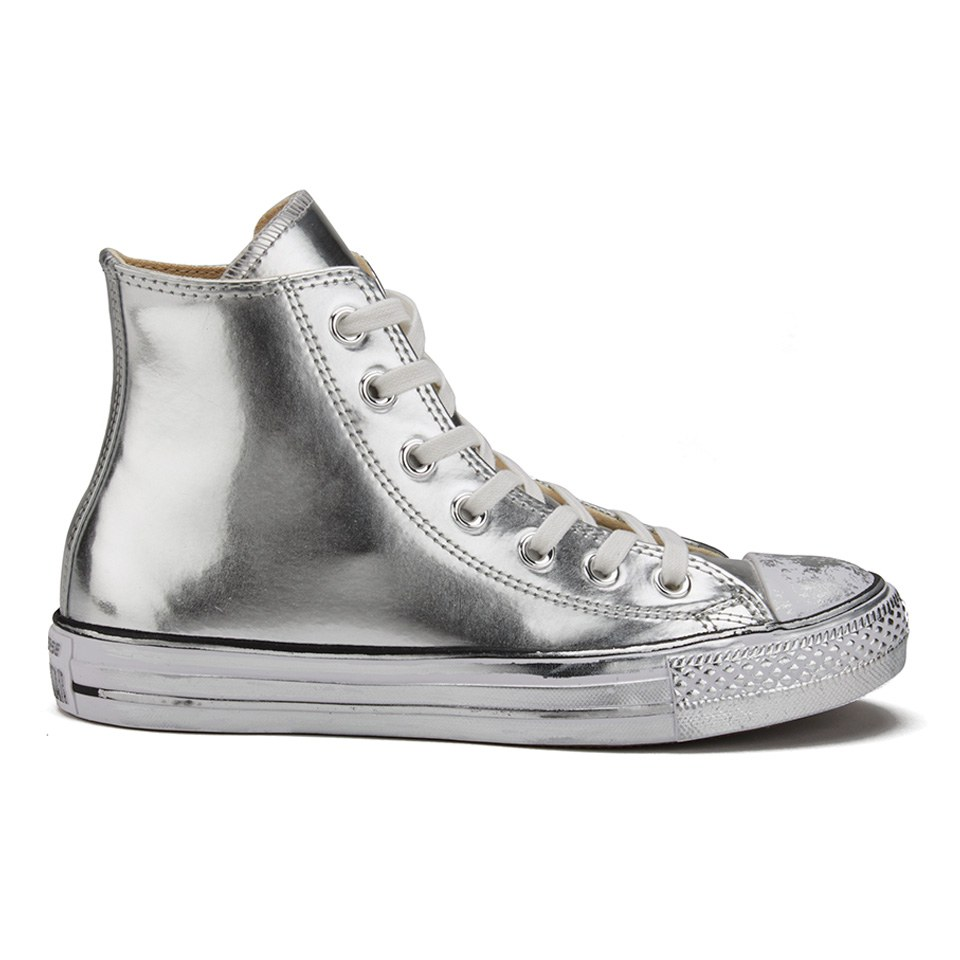 Converse Women's Chuck Taylor All Star Chrome Leather Hi Top Trainers SilverWhiteBlack
