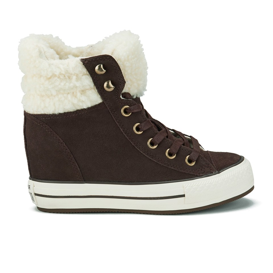 182a7d5069b203 ... Converse Women s Chuck Taylor Platform Plus Collar Wedged Trainers - Burnt  Umber Natural