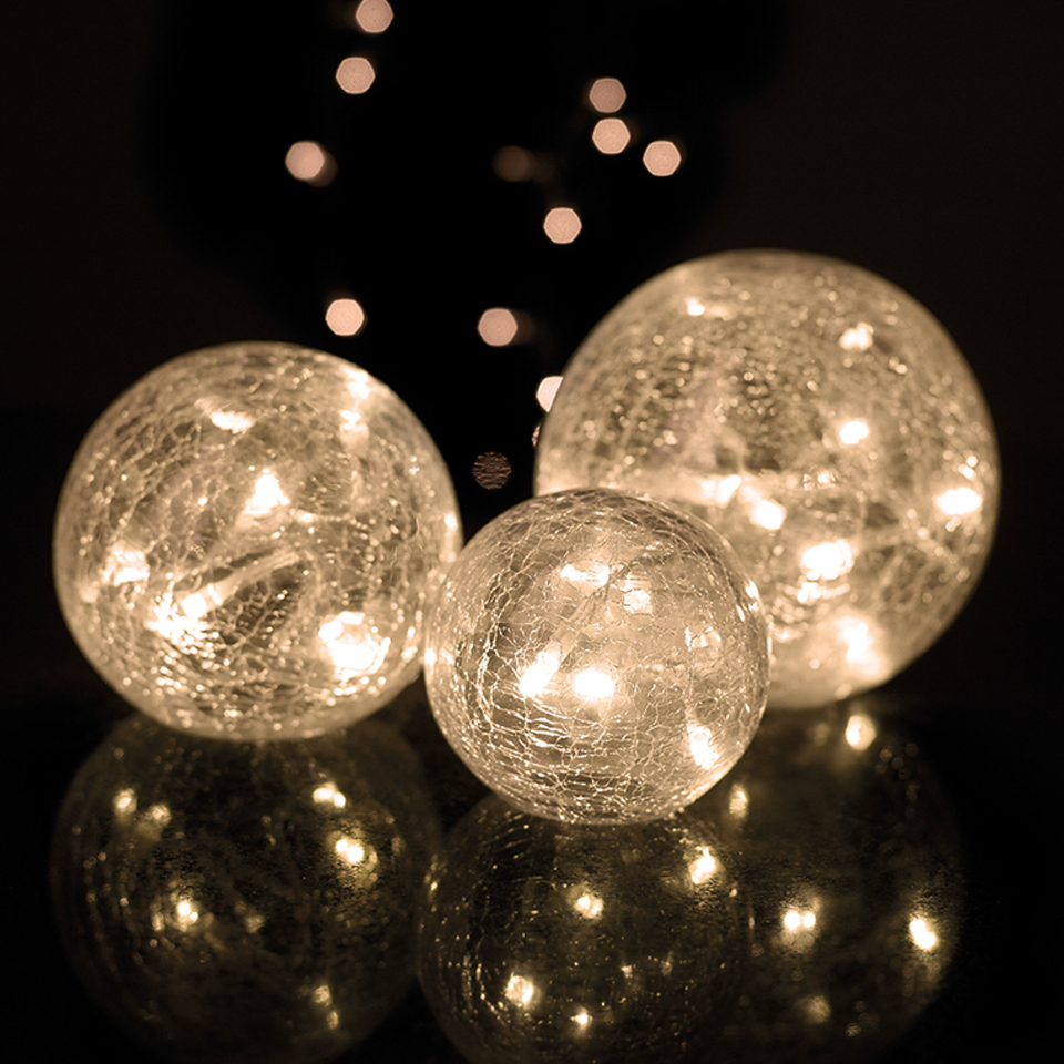 Parlane Set Of 3 Glass Crackle Ball Lights White Iwoot