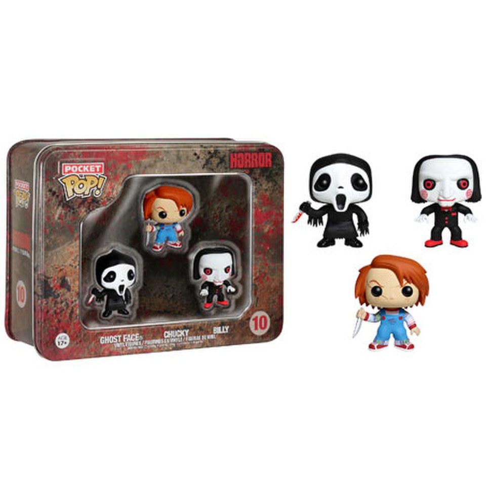 Horror Ghostface, Chucky, Billy Pocket Mini Pop! Vinyl Figure 3 Pack Tin