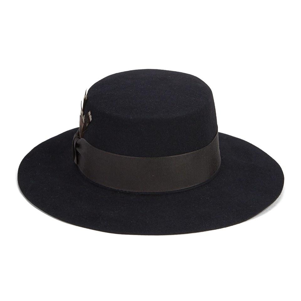 86feb4e46d8f8 ... Christys' London Womens Clementine Fur Felt Feather Boater Hat - Black