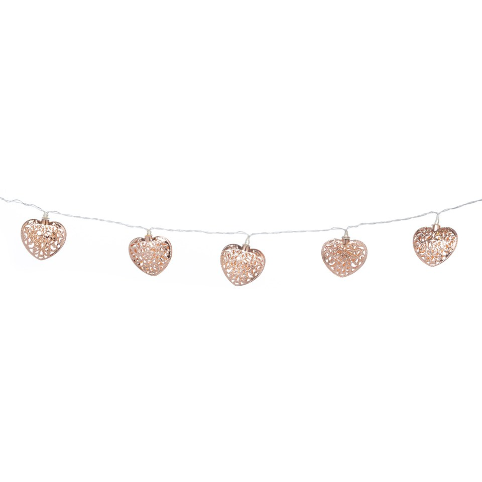 Parlane Copper Garland Heart Lights - Rose Gold