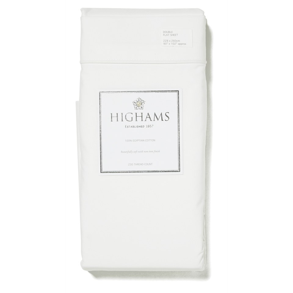 Highams 100% Egyptian Cotton Plain Dyed Flat Sheet - White