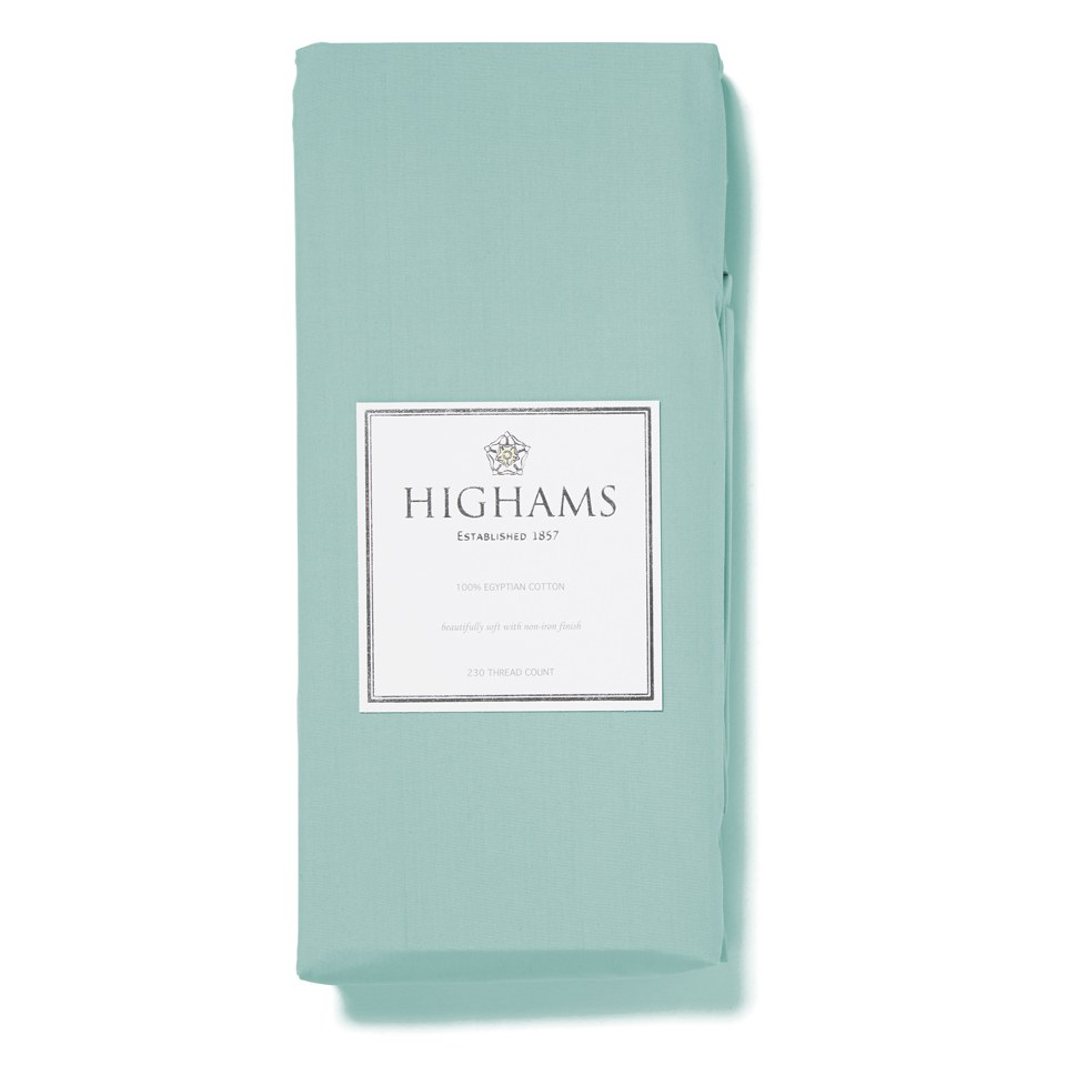 Highams 100% Egyptian Cotton Plain Dyed Flat Sheet - Duck Egg Blue