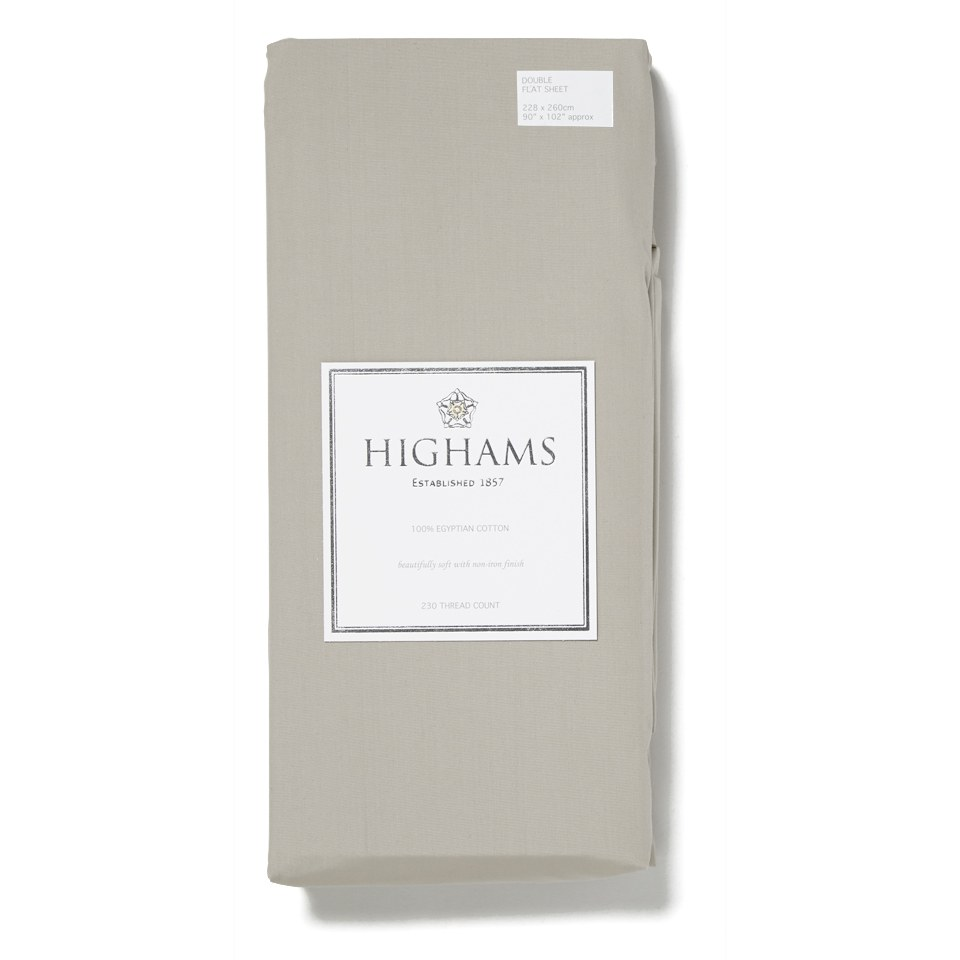 Highams 100% Egyptian Cotton Plain Dyed Flat Sheet - Brown