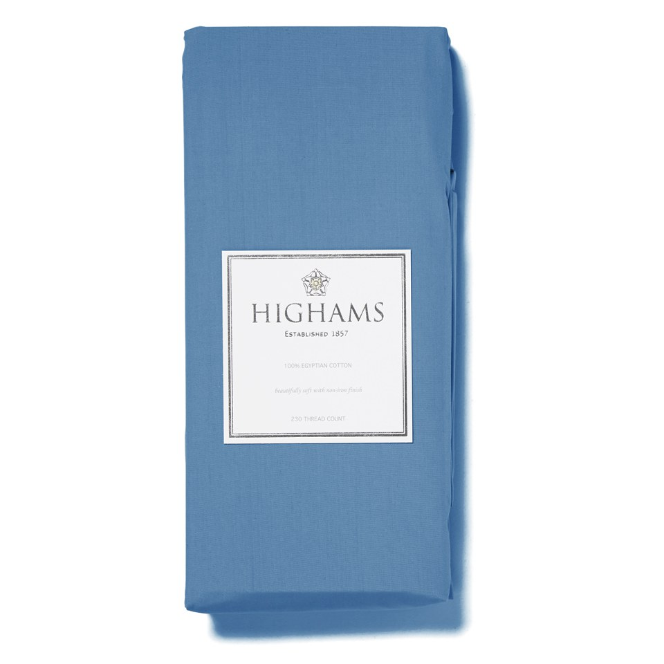 Highams 100% Egyptian Cotton Plain Dyed Deep Fitted Sheet - Steel Blue