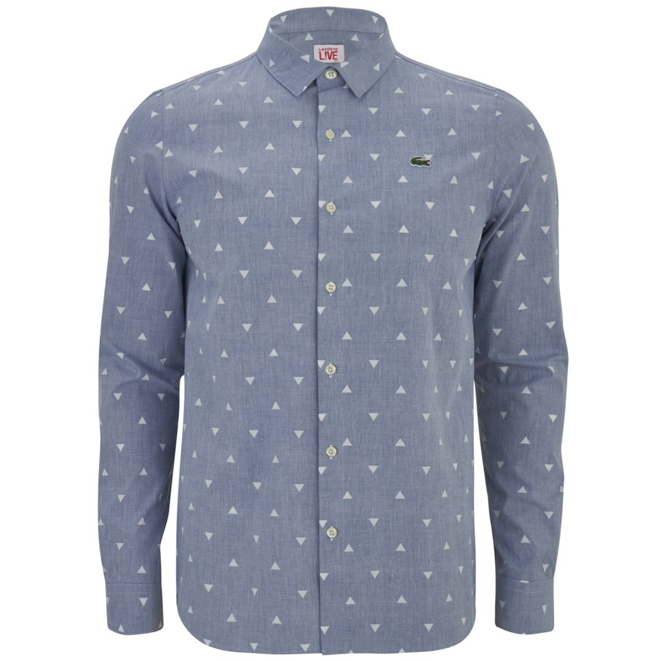 09978a9a6 Lacoste Live Men s Long Sleeve Triangle Print Shirt - Blue - Free UK  Delivery over £50