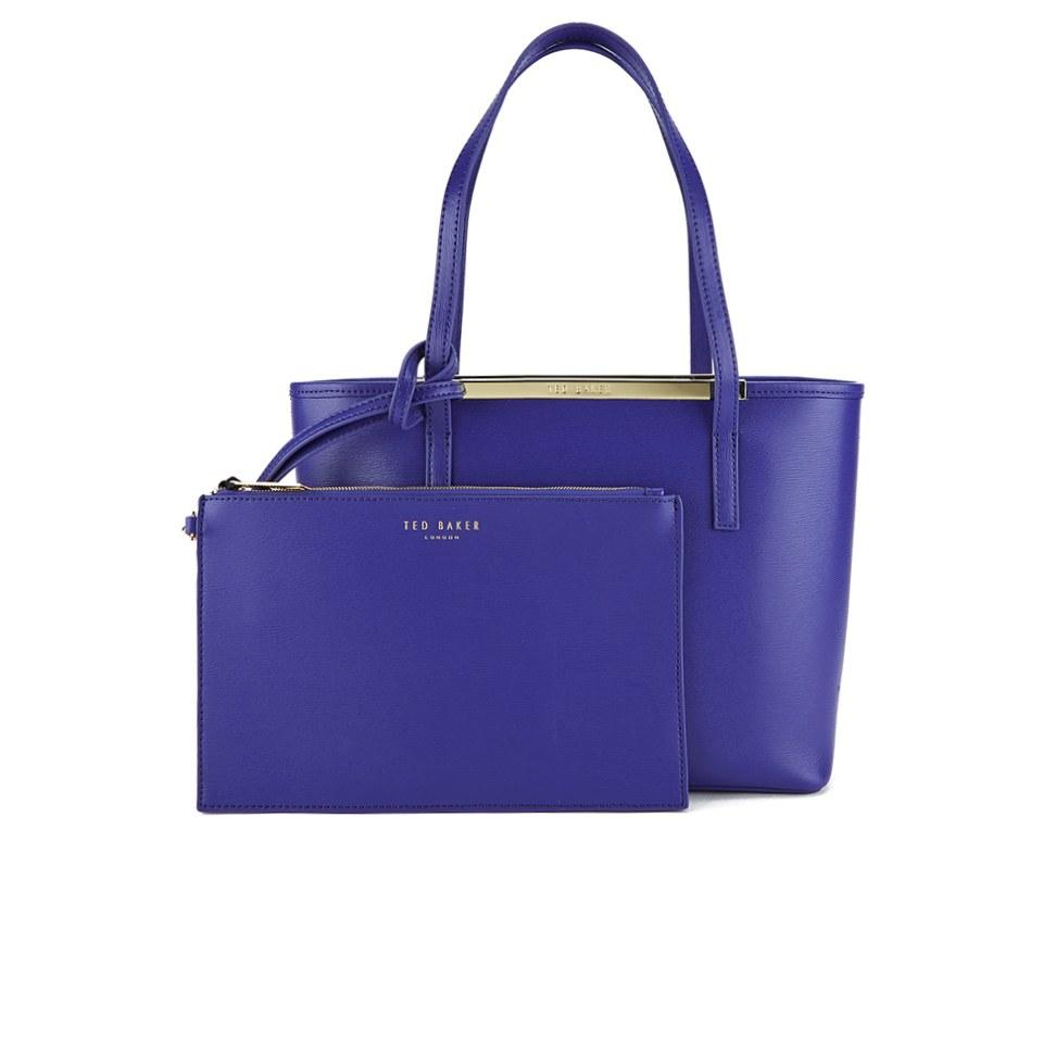 f1c85d9676a Ted Baker Women's Haileyz Zip Top Small Crosshatch Shopper Bag - Blue