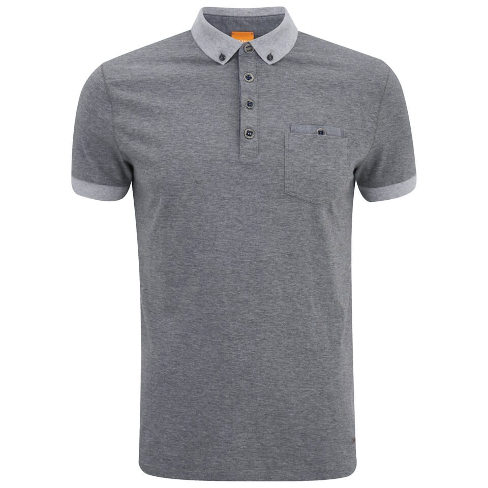 Boss orange men 39 s patches 1 button down polo shirt grey for Mens orange polo shirt