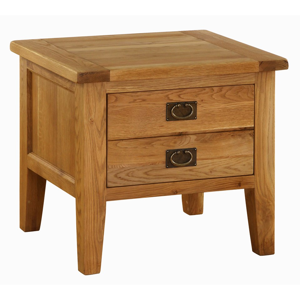 Vancouver Oak VXA004 Two Drawer Lamp Table