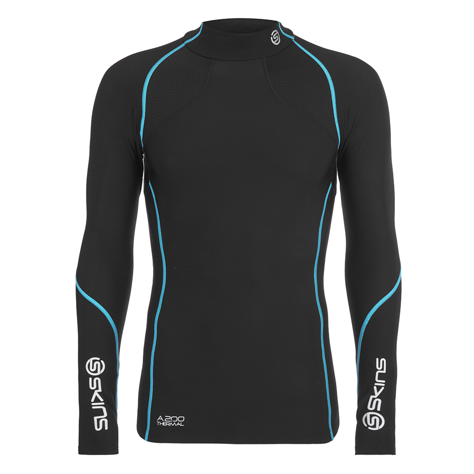 3dbbae8ff7c41 Skins A200 Mens Thermal Long Sleeve Compression Mock Neck Top - Black/Neon  Blue | ProBikeKit UK