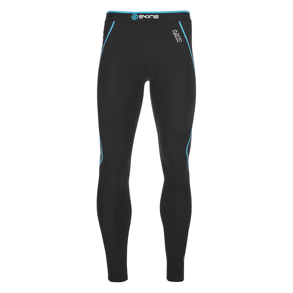 d7852bbb680a2 Skins A200 Mens Thermal Long Compression Tights - Black/Neon Blue ...