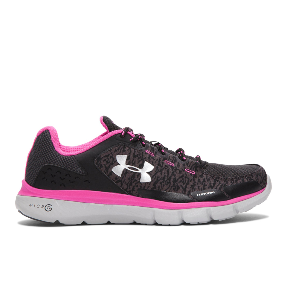 Under Armour Women s Micro G Velocity RN Storm Running Shoes - Black ... 395463f214
