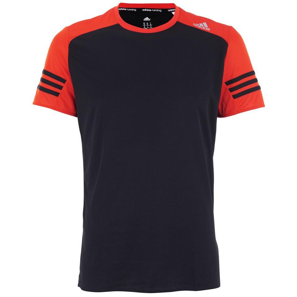 7f58c65ea595e adidas Men's Response Short Sleeve Running T-Shirt - Black/Orange ...