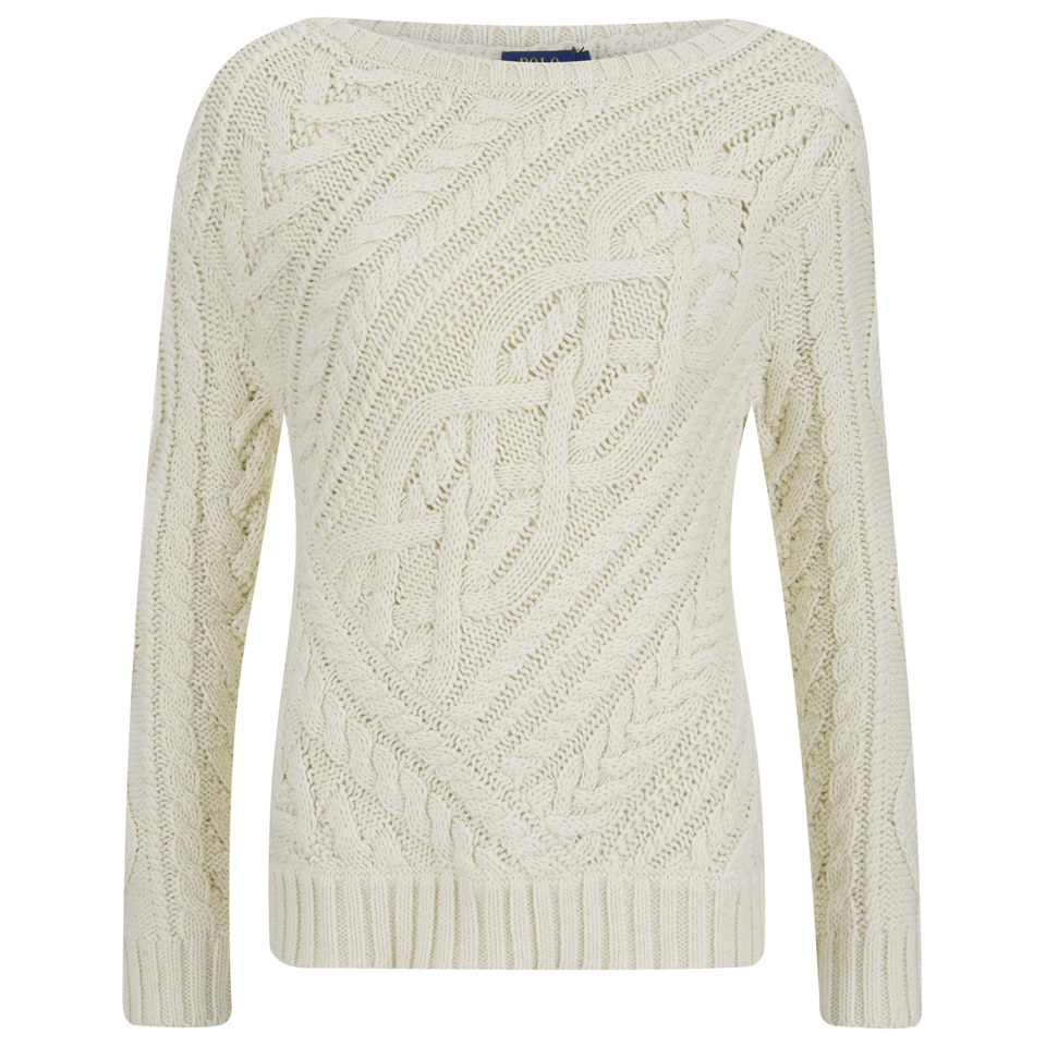 8b150bc33edb Polo Ralph Lauren Women s Cable Knitted Jumper - Port Cream - Free ...