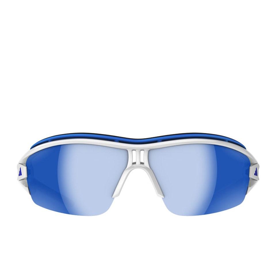 cheap price fashion style 100% genuine adidas Evil Eye Halfrim Pro Sunglasses - White/Grey/Blue Mirror
