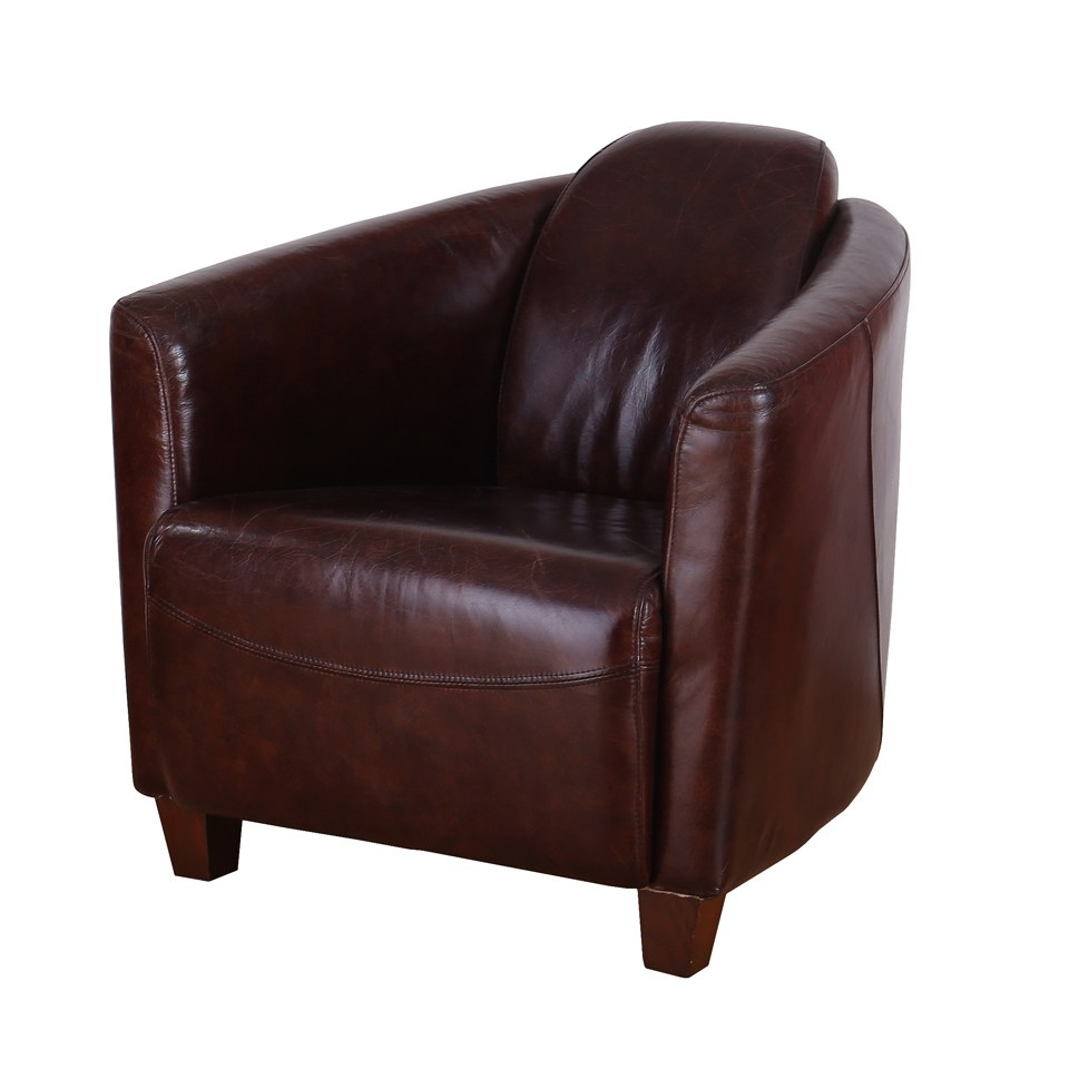 Vintage Aviator Full Leather Chair with Wooden Feet and Wooden Frame