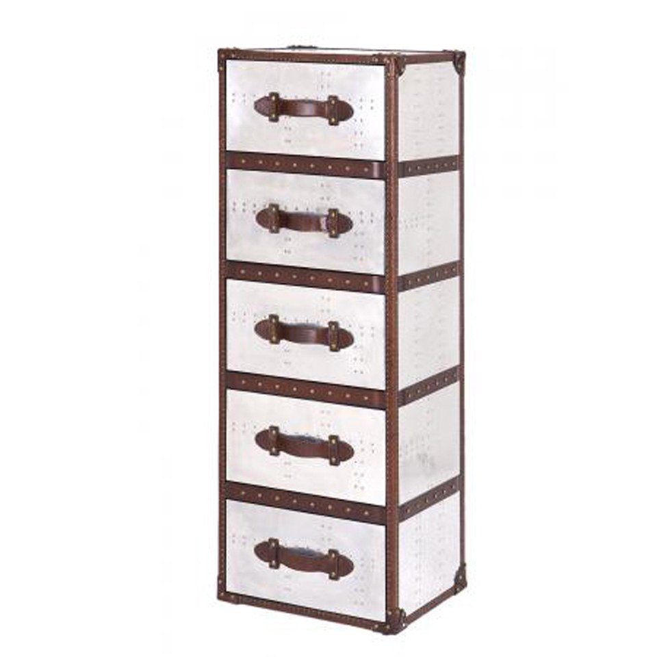 5 Drawer Tower Leather and Aluminium Trunk