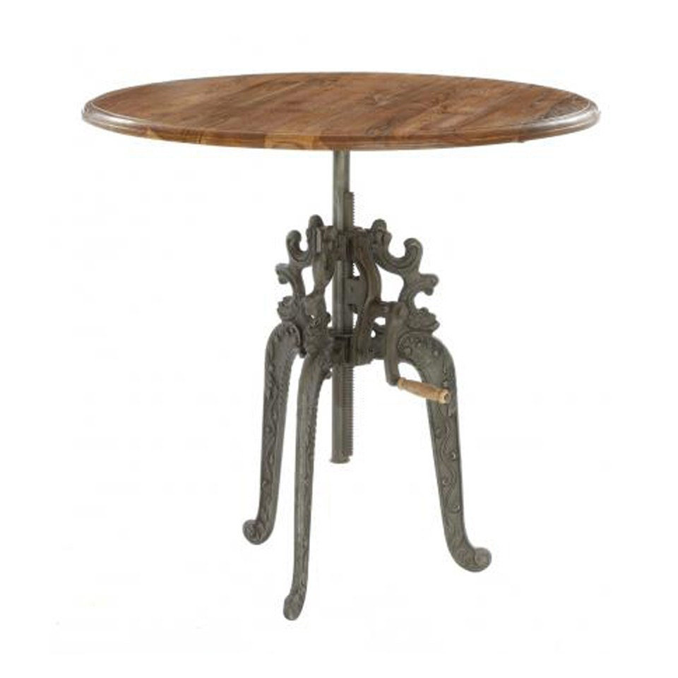 Reclaimed Metal and Wood Bar Table
