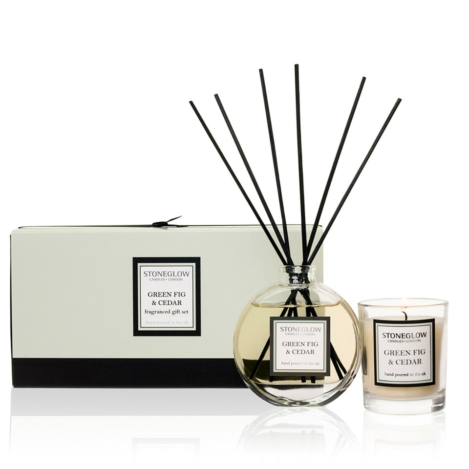 Stoneglow Modern Classics Candle and Reed Gift Set - Green Fig and Cedar