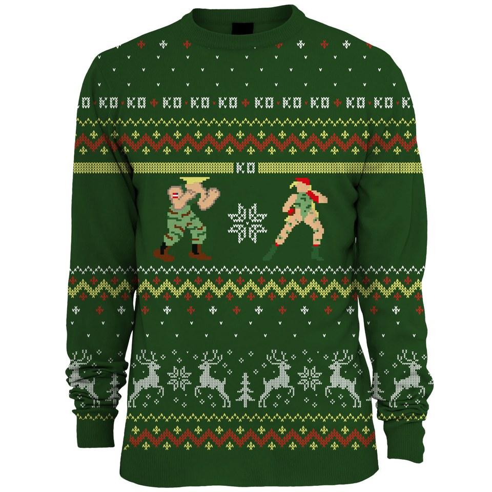 Geek Christmas Jumper.Capcom Street Fighter Guile Vs Cammy Knitted Christmas Jumper Green
