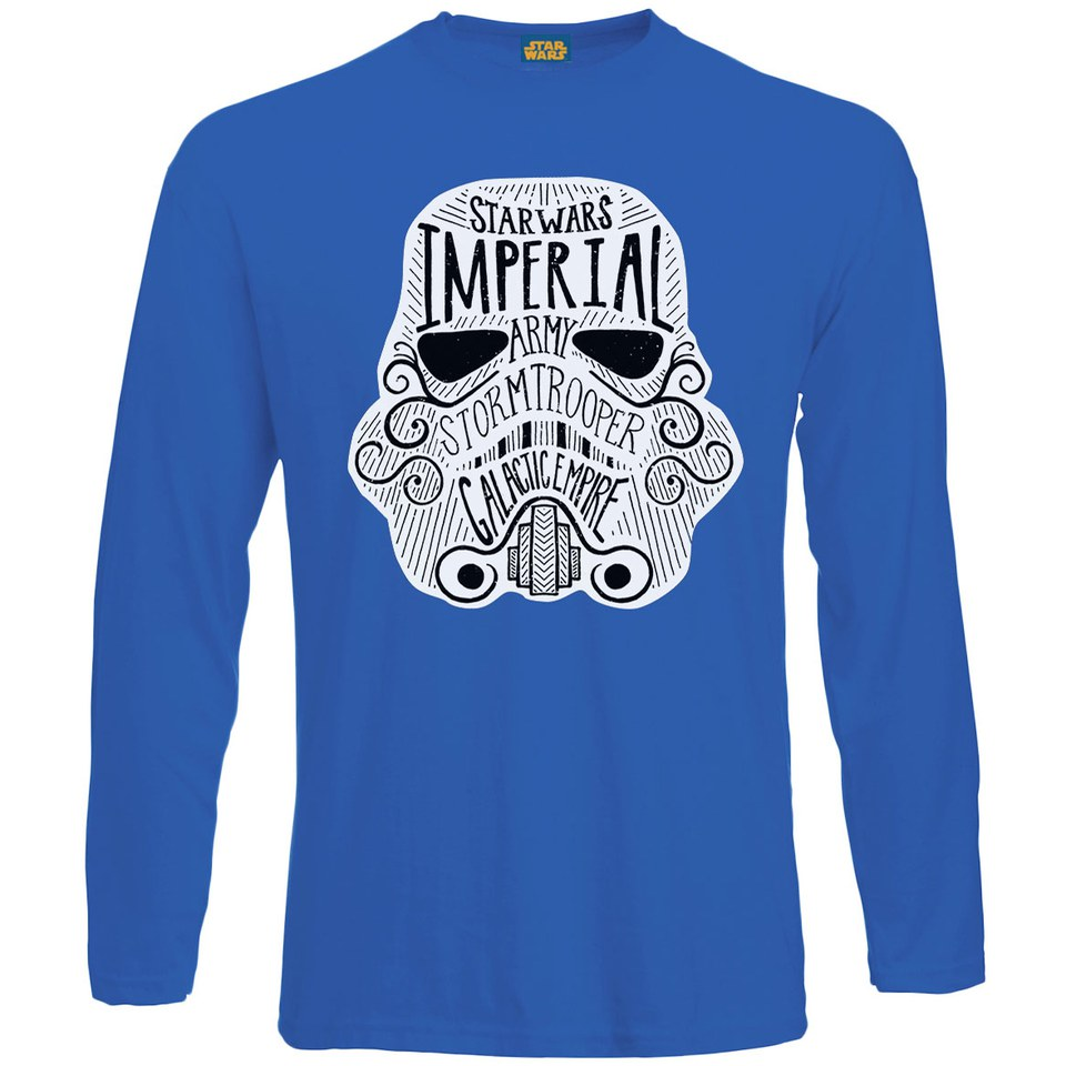 de1ecd9bfe9 Star Wars Men s Command Stormtrooper Empire Long Sleeve T-Shirt - Royal  Blue Merchandise