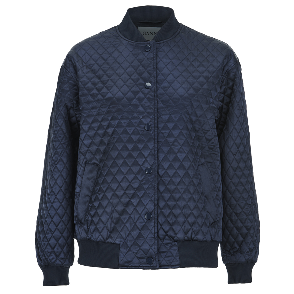 8f3513cda Ganni Women's Satin Quilted Bomber Jacket - Total Eclipse