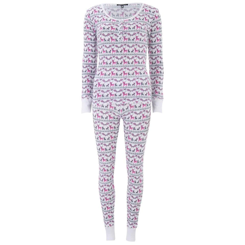 Wildfox Christmas Pajamas.Wildfox Women S Christmas Reindeer Ski Bunny Pyjama Set Pink