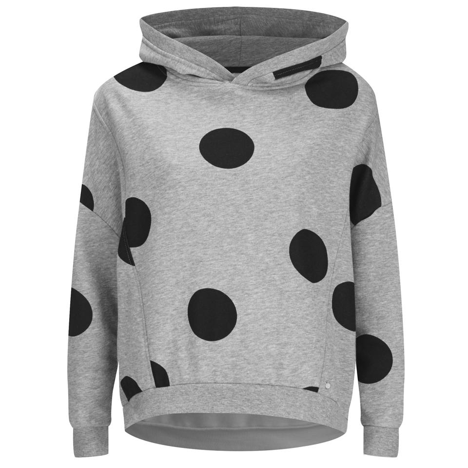 83ea37174eb8 ... ONLY Women s Oversized Long Sleeve Hooded Sweatshirt - Grey  Melange Black Spots