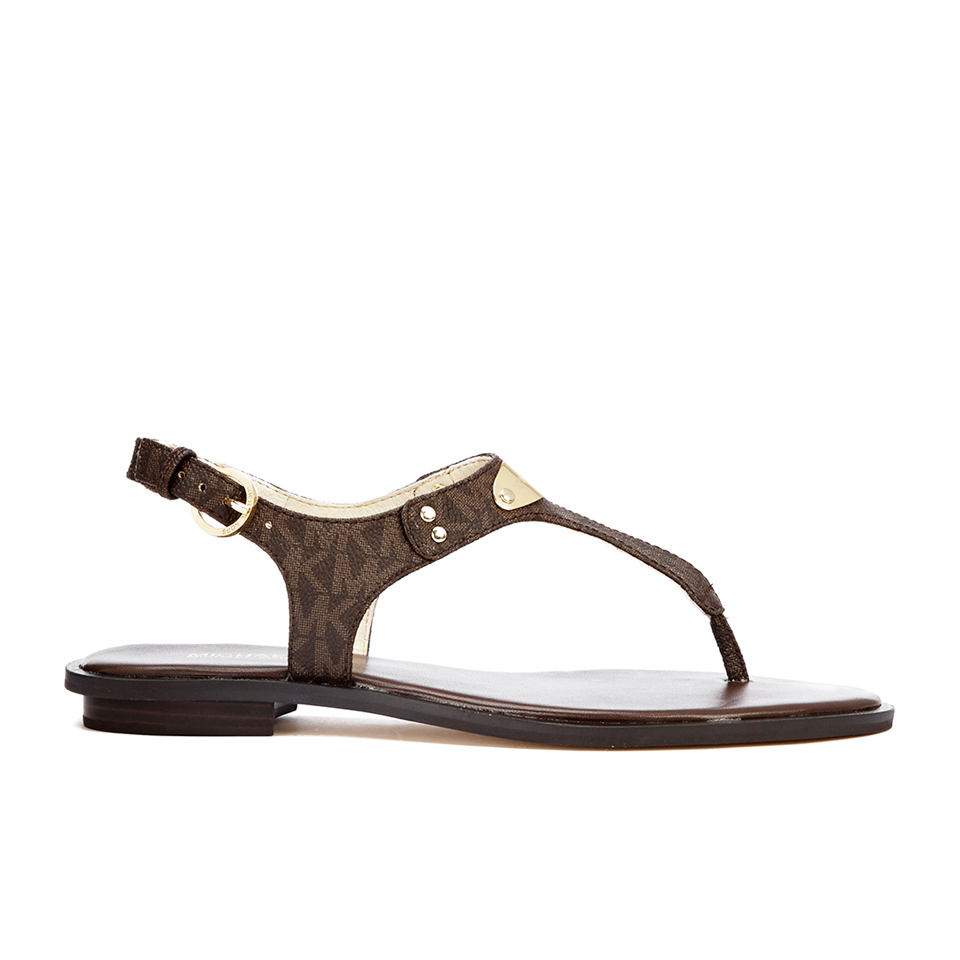 583bad3c4cfa MICHAEL MICHAEL KORS Women s MK Plate Thong Flat Sandals - Brown - Free UK  Delivery over £50