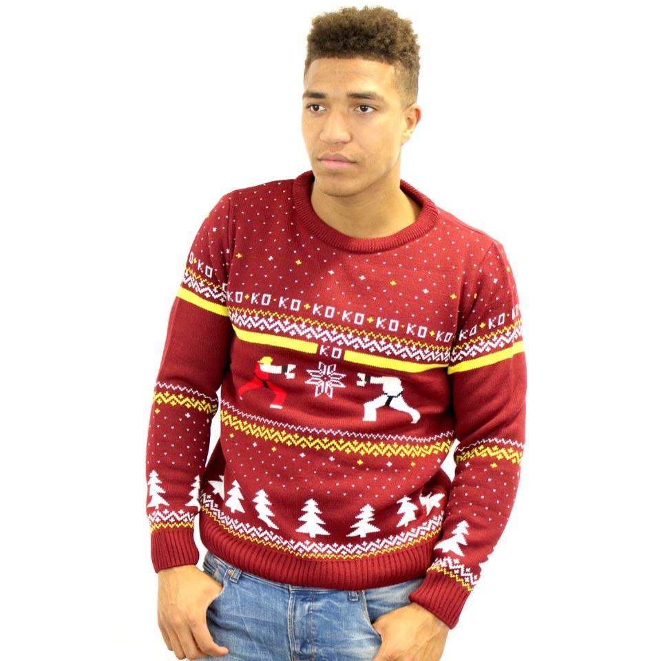 Capcom Street Fighter Ken Vs Ryu Knitted Christmas Jumper Iwoot