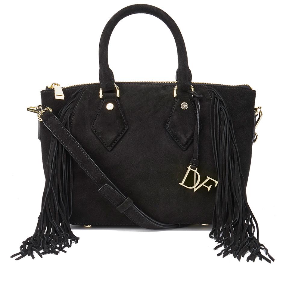 bd1e6625c Diane von Furstenberg Women's Voyage Boho Suede Fringe Tote Bag - Black -  Free UK Delivery over £50