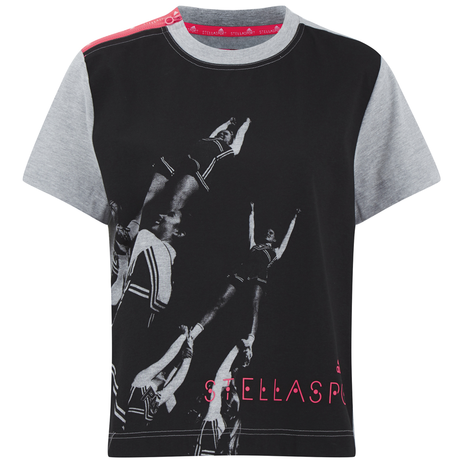 Adidas women 39 s stella sport gym print photo t shirt grey for Gym printed t shirts