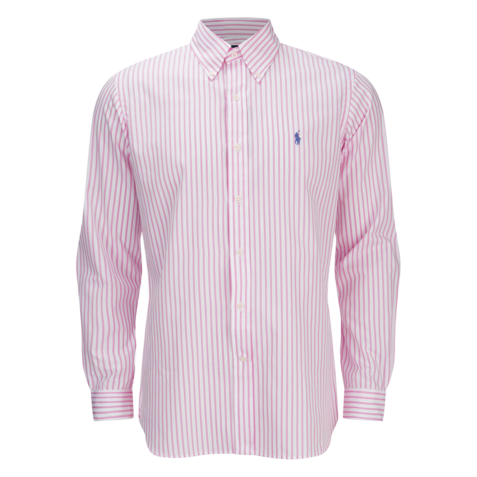 ba1caf618 Polo Ralph Lauren Men's Striped Dress Shirt - Pink/White - Free UK Delivery  over £50