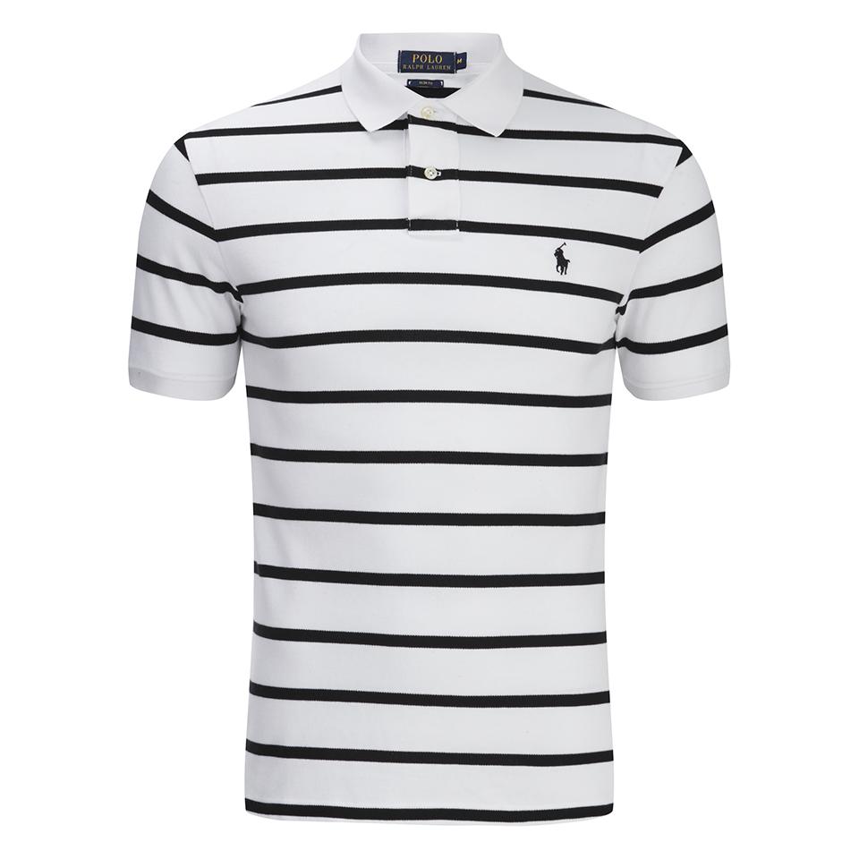 f861a5d0b ... Polo Ralph Lauren Men's Short Sleeve Slim Fit Striped Polo Shirt -  White/Black