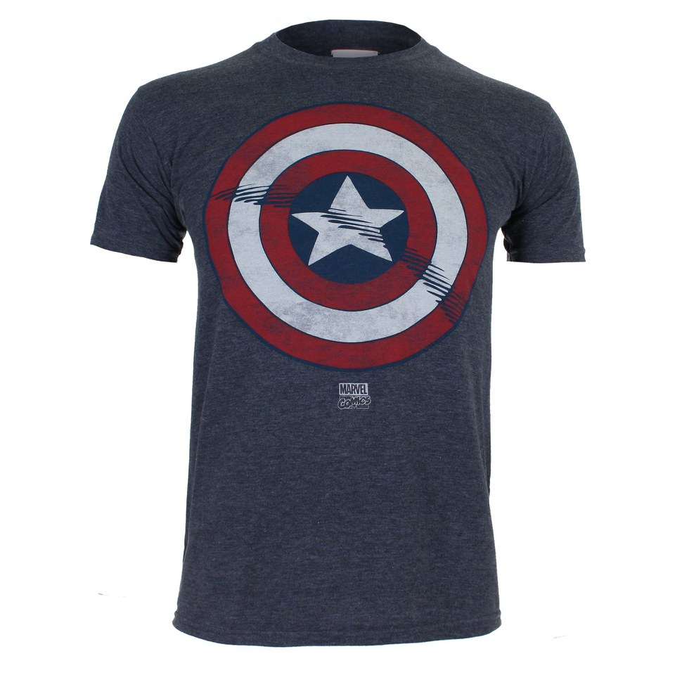 marvel men 39 s captain america shield t shirt heat merchandise zavvi. Black Bedroom Furniture Sets. Home Design Ideas