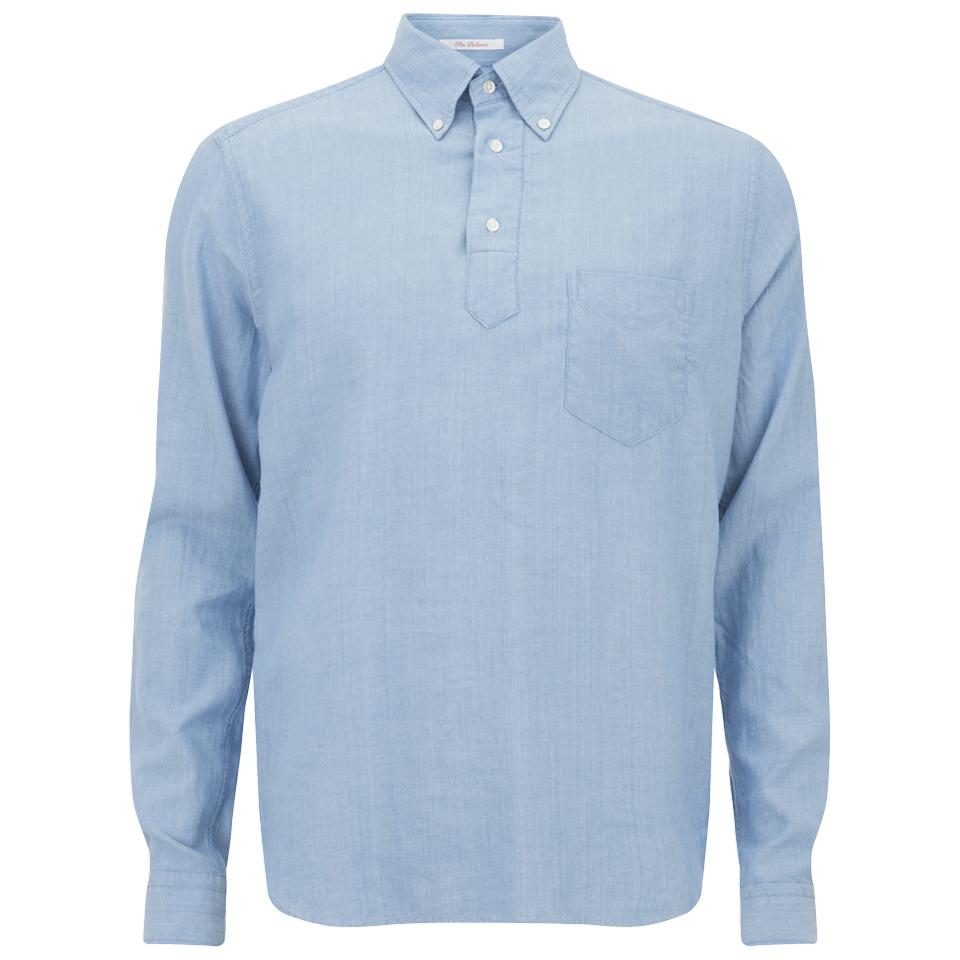 Gant rugger men 39 s half button pullover long sleeve shirt for Mens long sleeve pullover shirts