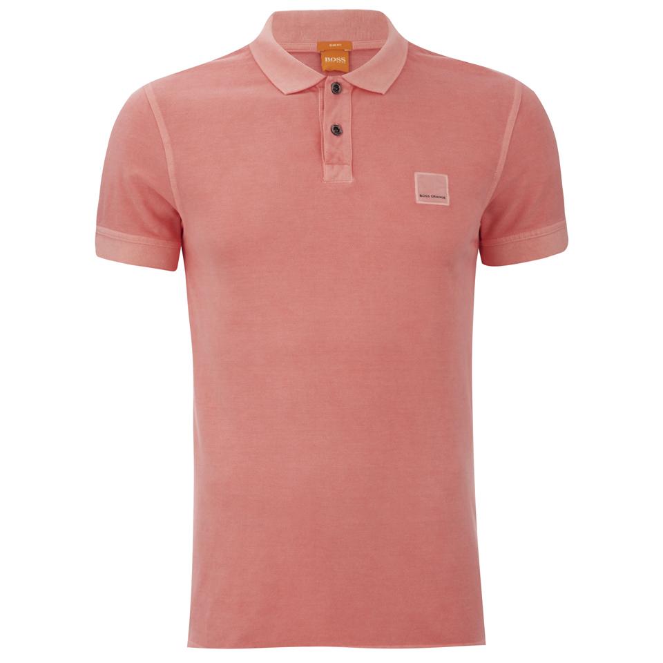 Boss orange men 39 s pascha polo shirt peach free uk for Orange polo shirt mens