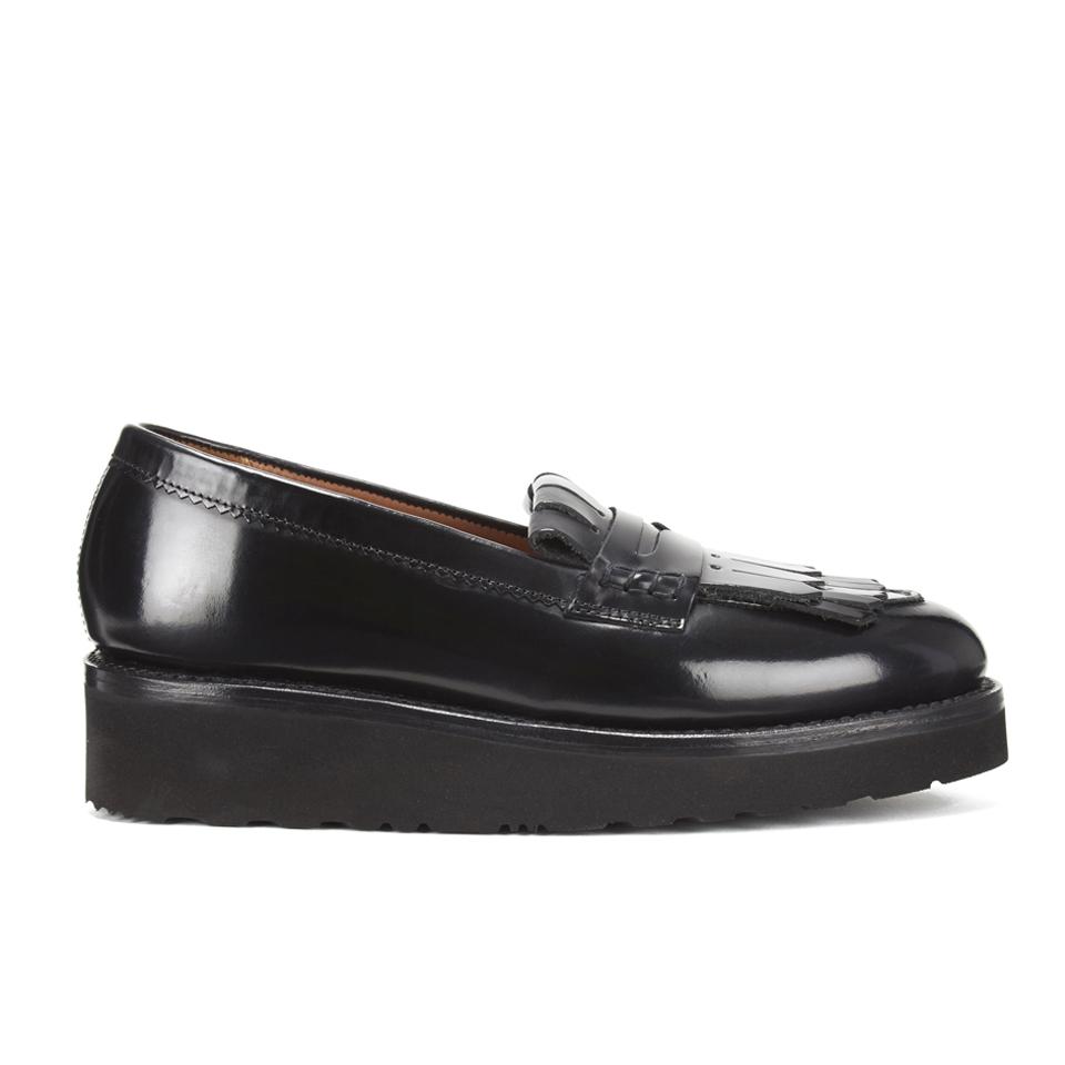e3e359a5db8 Grenson Women s Juno Leather Frill Loafers - Black Rub Off - Free UK ...