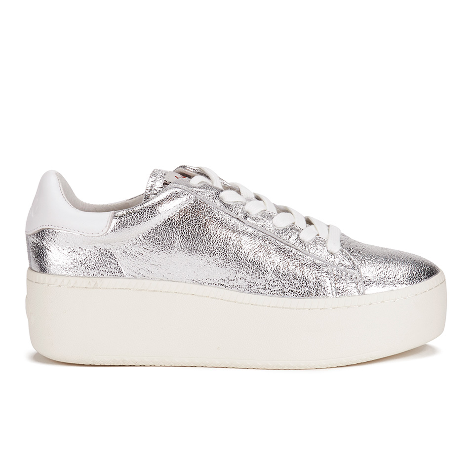 62fd289ca36c ... Ash Women s Cult Metal Rock Nappa Wax Flatform Trainers - Silver White