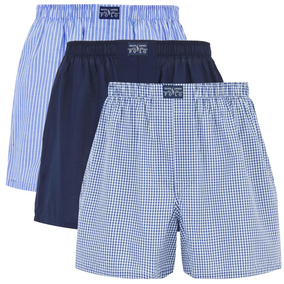 Woven Ralph Boxer Pack Shorts Lauren Men's Polo 3 Blue wmN0OvnPy8
