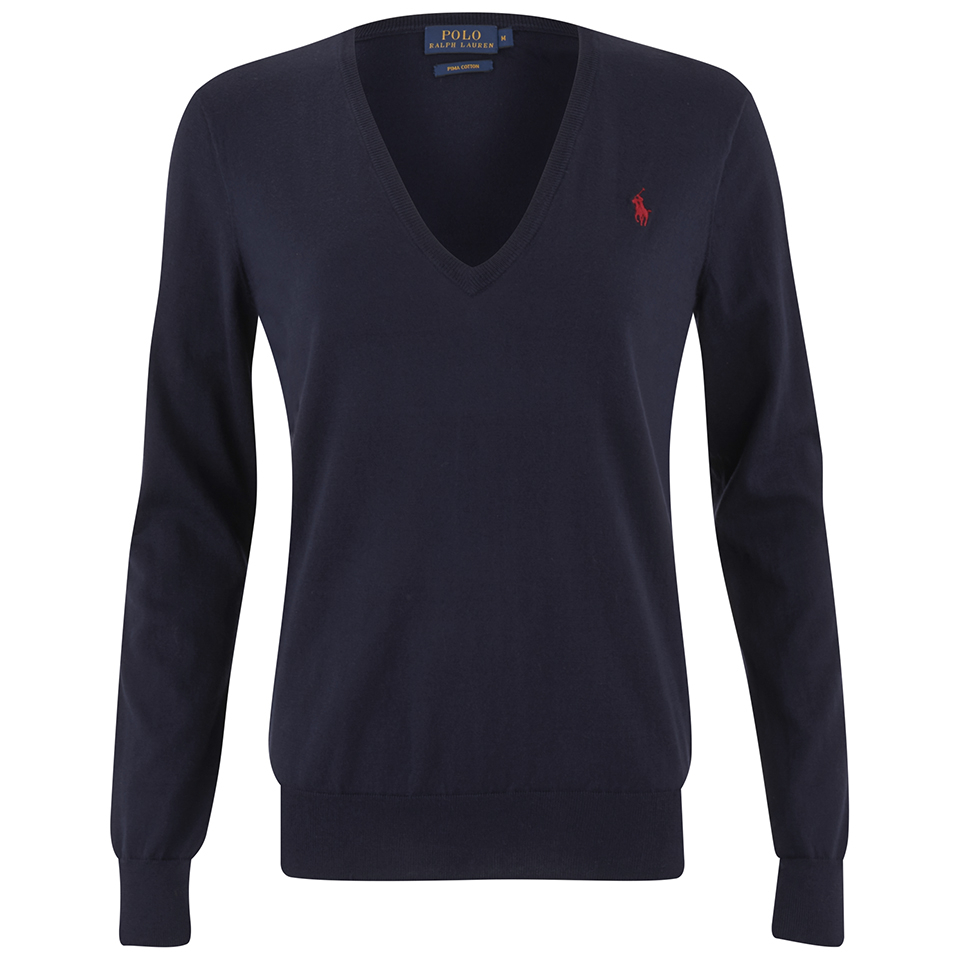 86aeeddd Polo Ralph Lauren Women's V-Neck Jumper - Navy - Free UK Delivery over £50